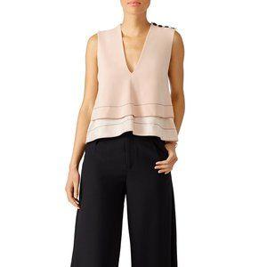 Gorgeous Designer Top! beige pink sleeveless vneck